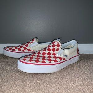 LIKE NEW Vans Red Checkerboard Slip-ons